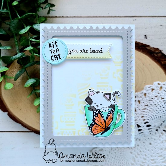 Butterfly Mug with Kitty Card by Amanda Wilcox | Newton's Mug Stamp Set, Monarchs Stamp Set, Mugs Stencil, Framework Die Set and Banner Trio Die Set by Newton's Nook Designs #newtonsnook