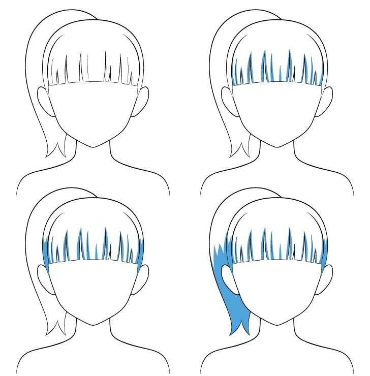 Langkah naungan rambut kuncir kuda anime