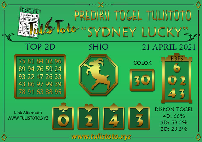 Prediksi Togel SYDNEY LUCKY TODAY TULISTOTO 21 APRIL 2021