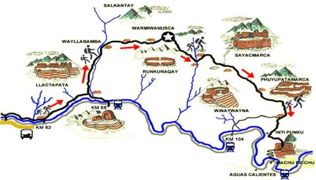 Mapa del Camino inca