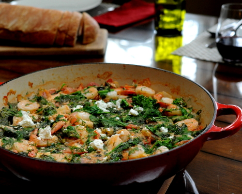 Shrimp with Tomatoes, Spinach & Feta, another Quick Supper ♥ KitchenParade.com. One-Pot Dinner. Low Carb. High Protein. Weight Watchers Friendly. Naturally Gluten Free.