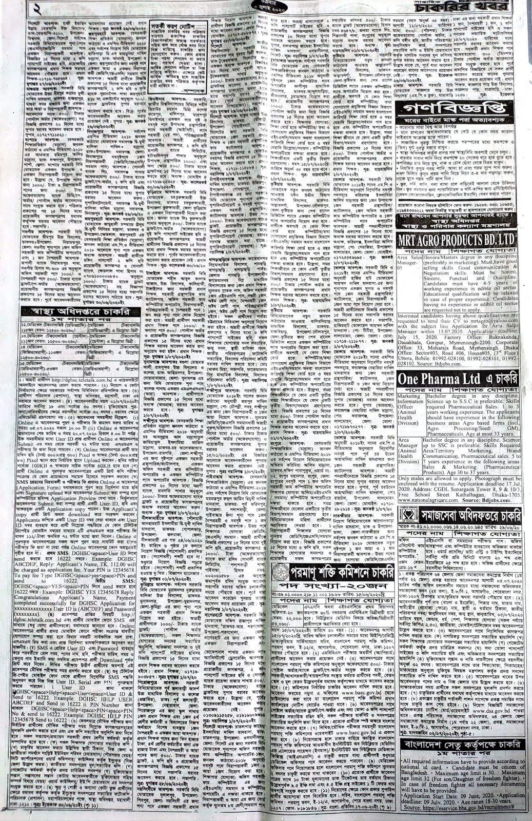 সাপ্তাহিক চাকরির খবর পত্রিকা ০৩ জুন ২০২০ - Saptahik Chakrir khobor potrika 03 jun 2020