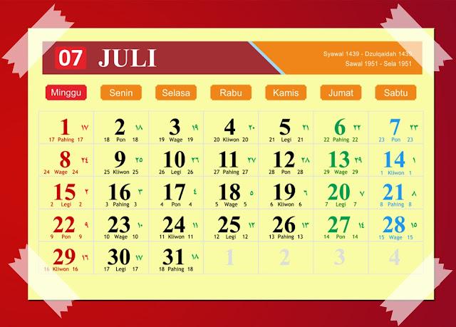 Download Kalender Juli 2018 Hijriyah Jawa Dan Pasaran