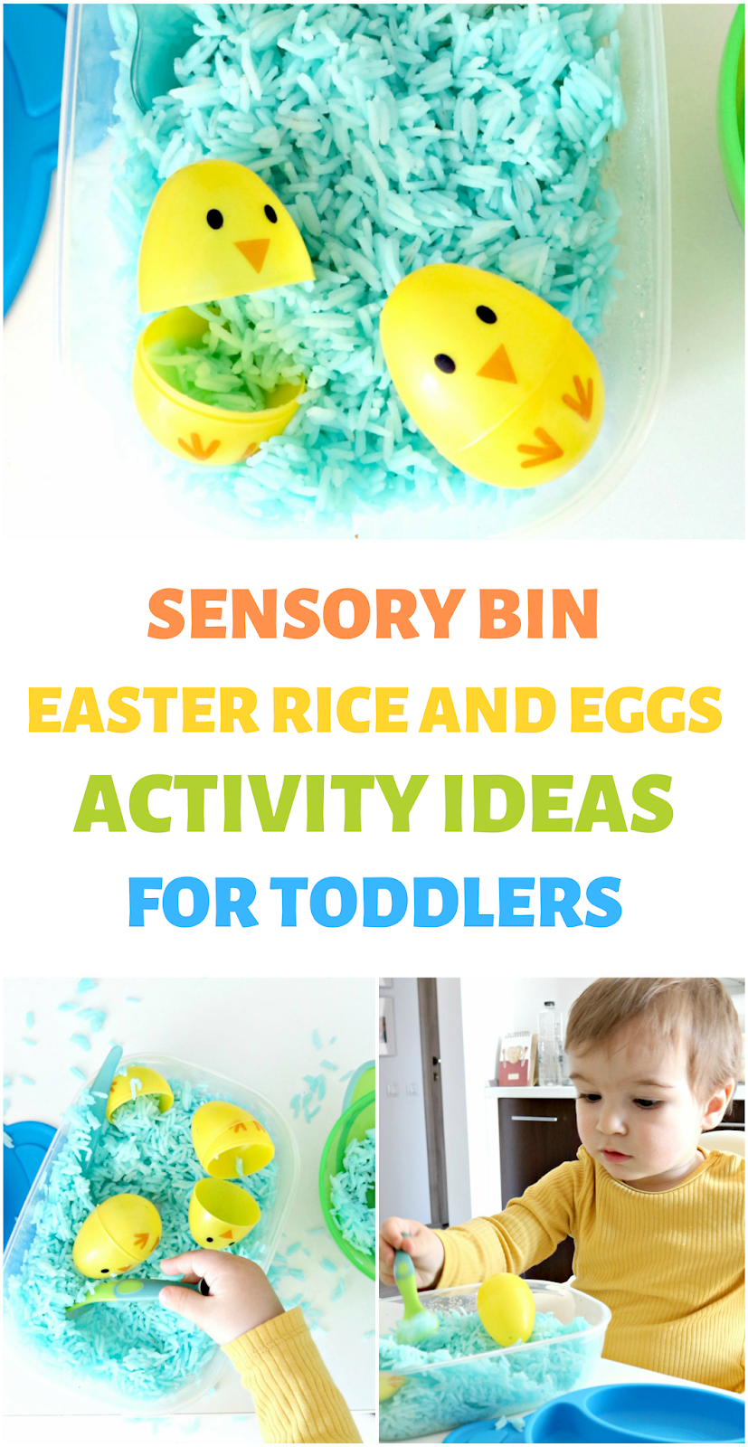 sensory bin with rice and eggs for toddlers