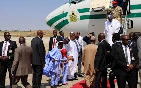 PRESIDENT BUHARI ENTERS MAIDUGURI FOR COAS CONFERENCE