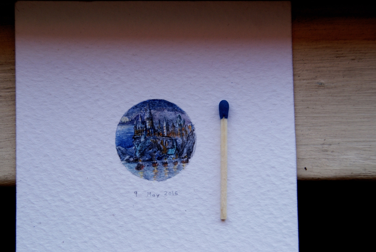 08-Hogwarts-Castle-Harry-Potter-Guillermo-Méndez-Mr-Luigi-Miniature-Drawings-and-Watercolor-Paintings-www-designstack-co