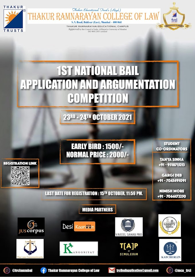 1st National Bail Application and Argumentation Competition 2021 (23-24 October)