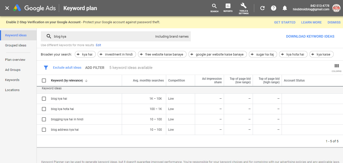 google keyword planner tool free