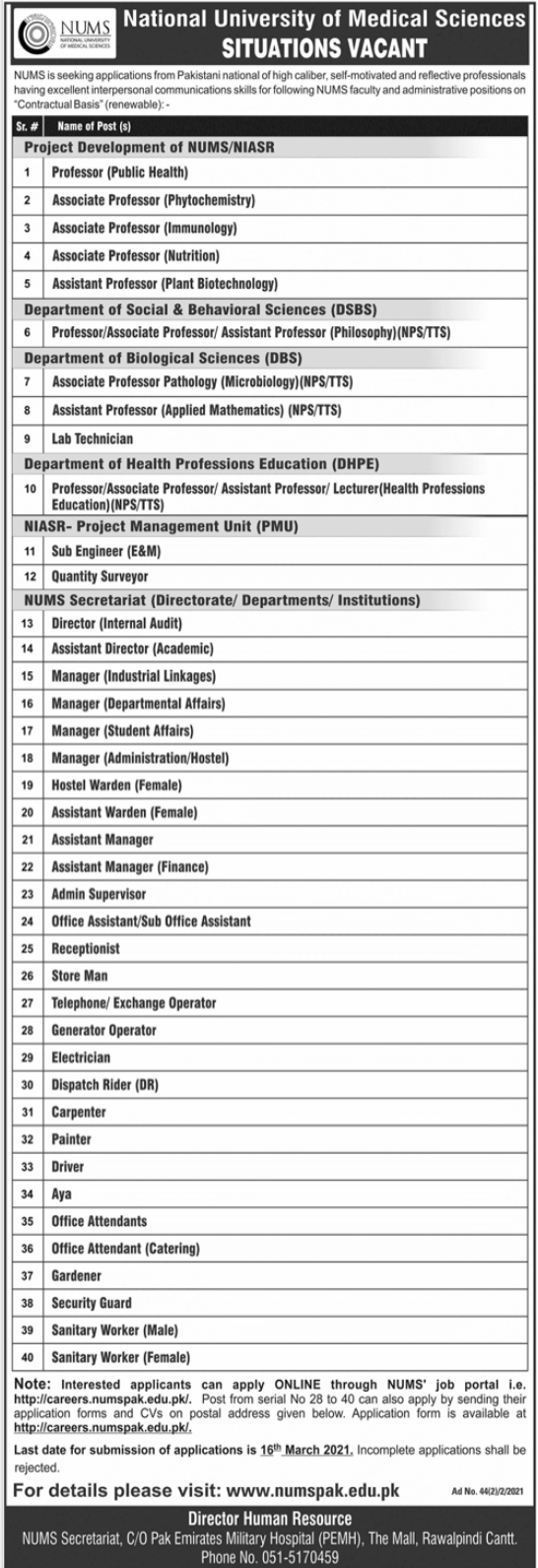 National University of Medical Sciences NUMS Rawalpindi Jobs 2021