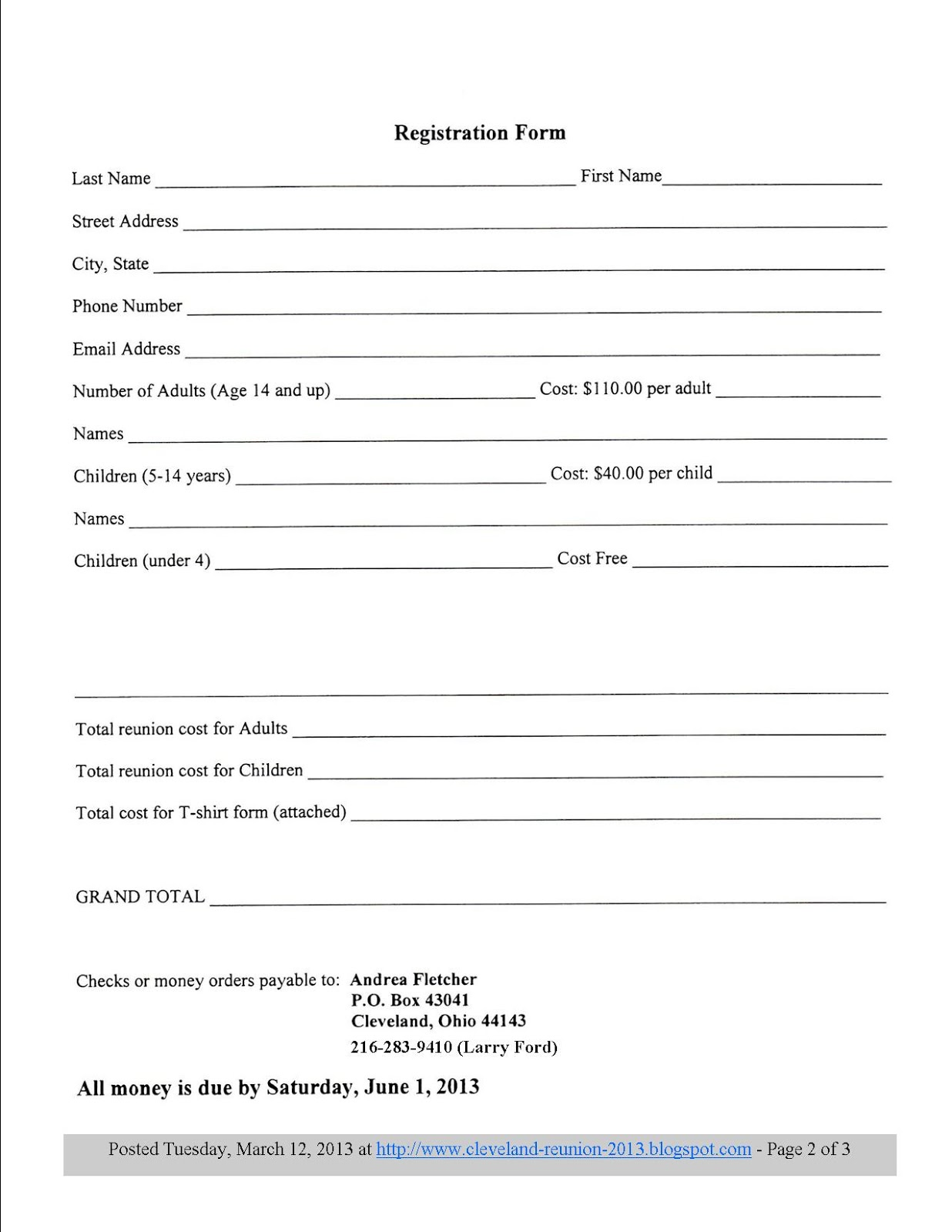 Family Reunion Forms And Letters