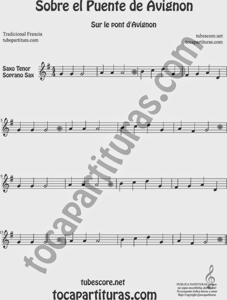 Partitura de Saxofón Soprano y Saxo Tenor Sheet Music for Soprano Sax and Tenor Saxophone Music Scores Sur le Pont d'Avignon Popular