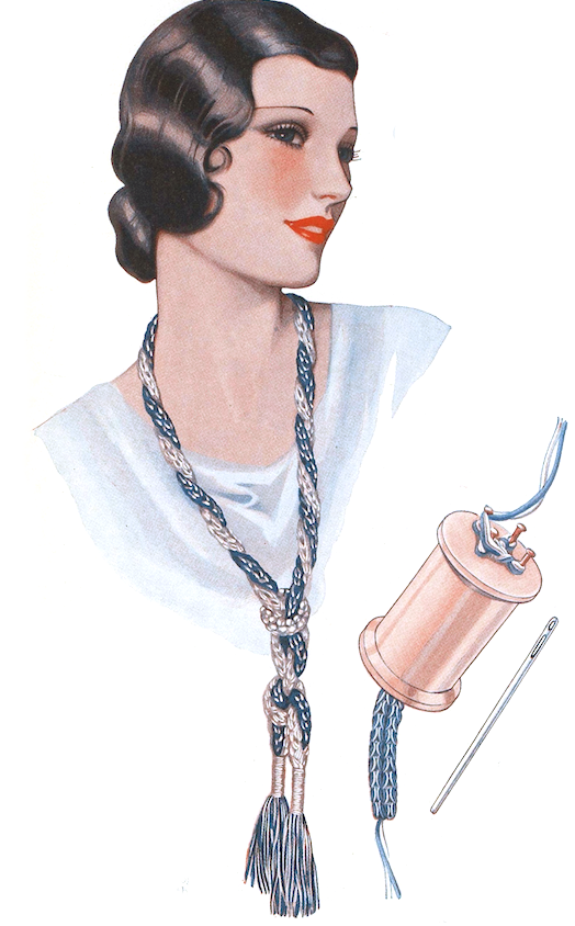 The Vintage Pattern Files: Free 1930's Knitting Pattern - Cotton Reel Necklace