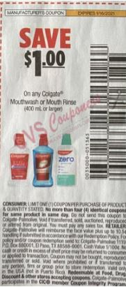 "$1.00/1-Colgate Mouthwash or Mouth Rinse 400 ml or larger Coupon from ""SMARTSOURCE"" insert week of 1/3/21."