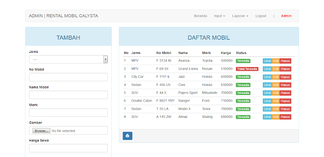 Aplikasi Rental Mobil Berbasis Web