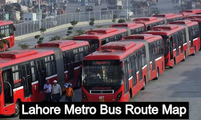 Lahore metro bus route Map - metro bus lahore route