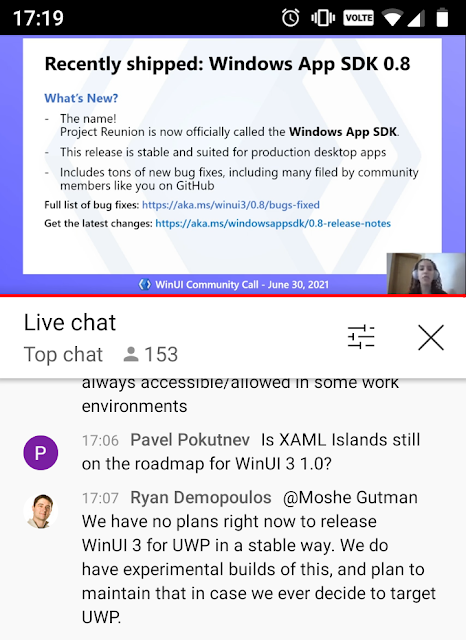 """Screenshot from the community call including the comment: """"We have no plans right now to release WinUI 3 for UWP in a stable way."""""""
