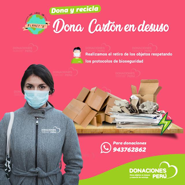 Dona y recicla cartón en desuso en Lima