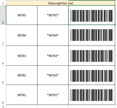 Membuat Barcode di Microsoft Excel