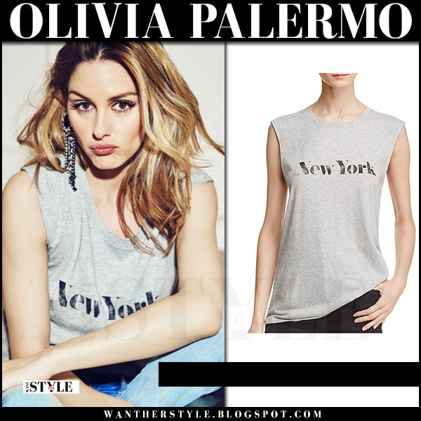 Olivia Palermo in grey muscle tee rebecca minkoff what she wore cosmopolitan june 2017