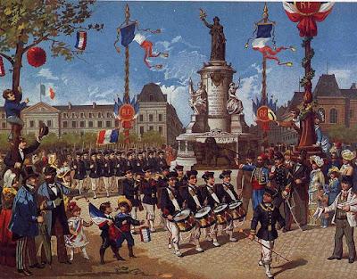 Défilé d'un bataillon scolaire Place de la République le 14 juillet 1883 – Lithographie populaire anonyme – (Musée Carnavalet Paris)
