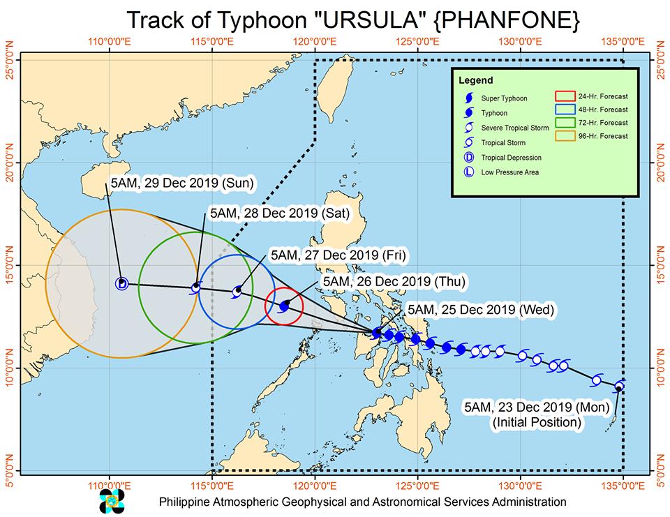 'Bagyong Ursula' PAGASA weather update December 25, 2019