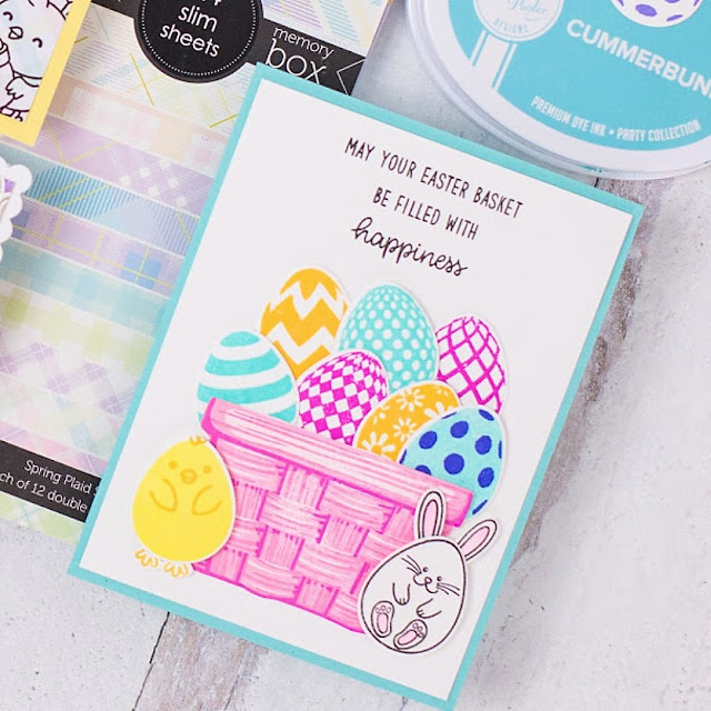 Sunny Studio Stamps: Eggs To Dye For Layered Basket Customer Card by Rebecca Keppel