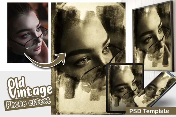 Old Vintage PSD Photo Template