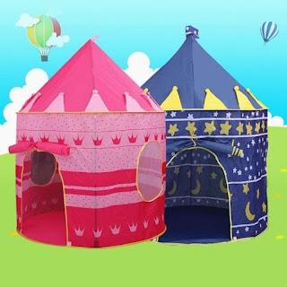 Tenda Anak Bermain Portable Model Castle Rumah Princess Kids Camping - BULAT - BIRU