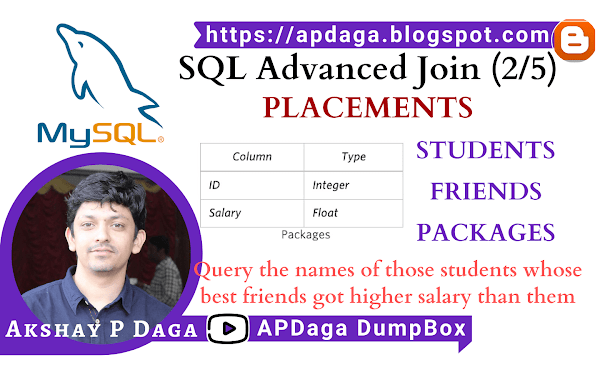 HackerRank: [SQL Advanced Join] (2/5) PLACEMENTS | inner join Students, Friends, Packages in SQL