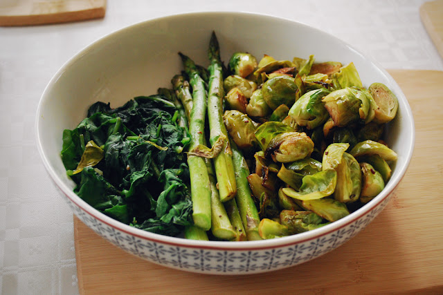 Fried greens - spinach, asparagus, brussels sprouts - vegan gluten-free