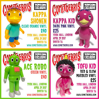 Cometdebris ToyCon UK 2017 Exclusives - Clear Orange Kappa Shonen, Dark Pink Kappa Kid, Green Ace Robo & Red and Glow Marbled Tofu Kid