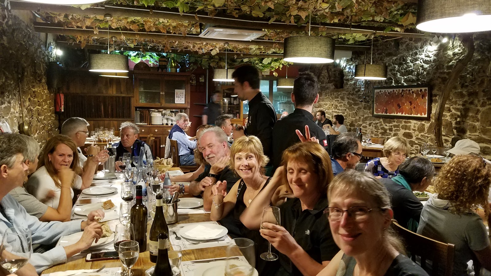 Our pilgrim's farewell dinner in Santiago. Undoubtedly an emotional evening filled with lots of delicious Spanish food and merry making with toasts of Good Luck, Good Fortune and farewell, for now.