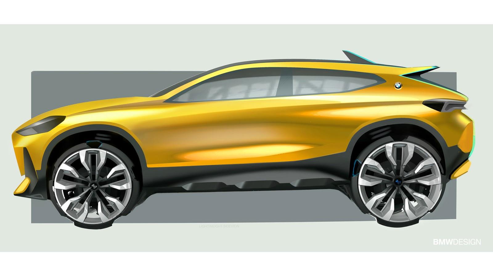 BMW X2 sketch by Sebastian Simm - profile view in yellow