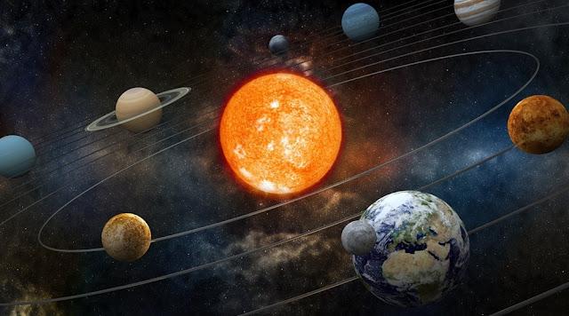 Sistema solar em 3D criado pela pseudo-ciência com sol ao centro