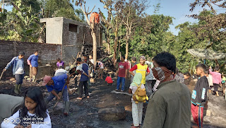 Sijago merah lalap empat rumah warga Kp Cicayur  Desa Cinta Nagara Kecamatan Cigedug