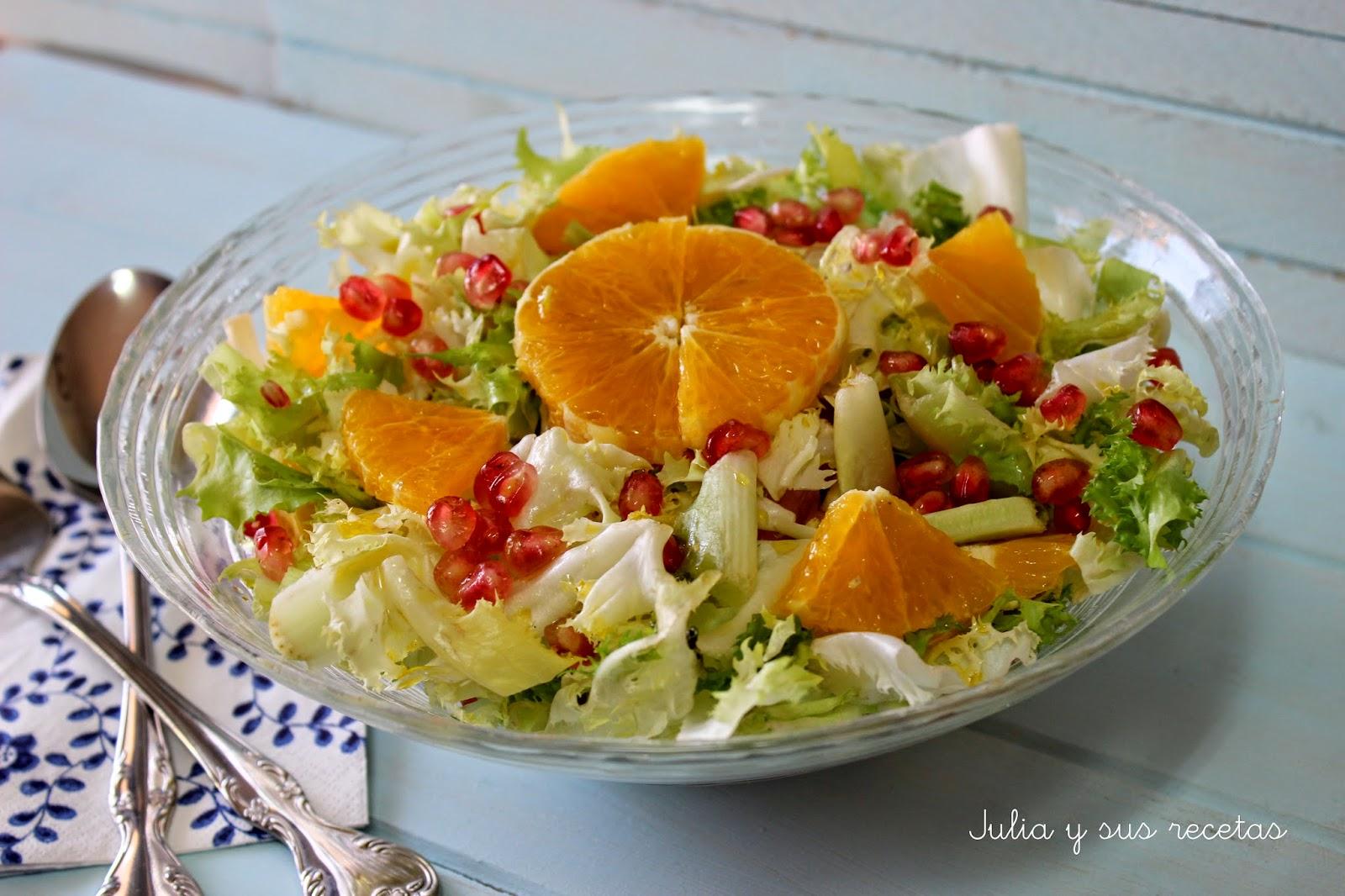 Ensalada de escarola, granada y naranja. Julia y sus recetas