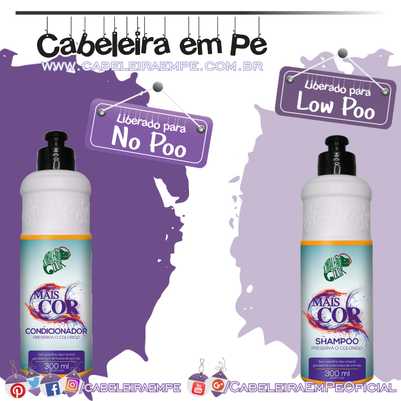 Shampoo (Low Poo) e Condicionador (No Poo) Mais Cor - Kamaleão Color