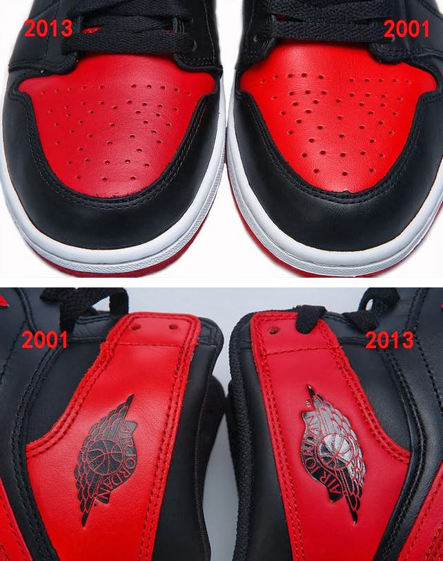 fb1c31b75a0b Here is a detailed look via Long7 of a Air Jordan 1 High OG Black   Red 2001  Vs. 2013 Bred Sneaker Comparison