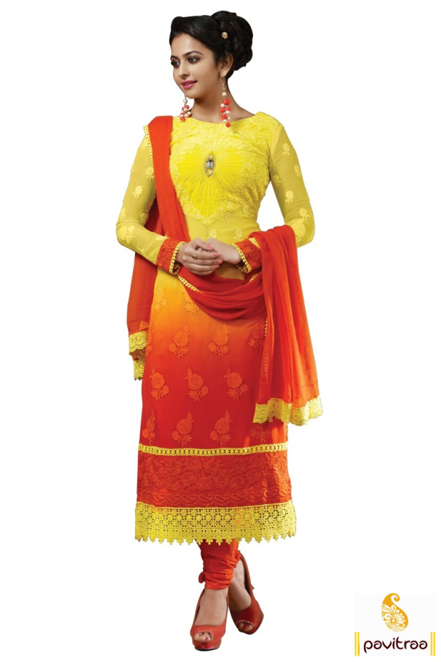 Rakul Preet In Yellow Embroidery Salwar Suit