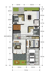 Denah rumah minimalis ukuran 7x15 tampak depan istimewa