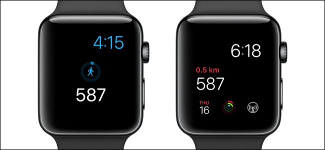 ساعتان من Apple تُظهر عدد الخطوات على وجوه الساعة.