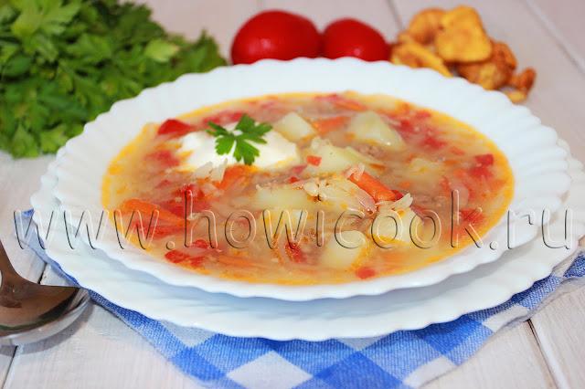 рецепт супа с капустой и фаршем