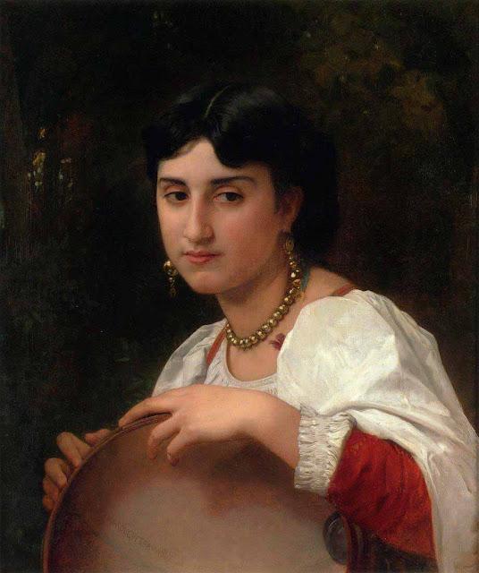 Адольф Вильям Бугро - Итальянская женщина с бубном (1869)