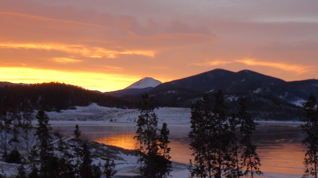 Sunrise on Lake Dillon from our balcony.  (Colorado 2011)