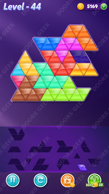 Block! Triangle Puzzle 12 Mania Level 44 Solution, Cheats, Walkthrough for Android, iPhone, iPad and iPod