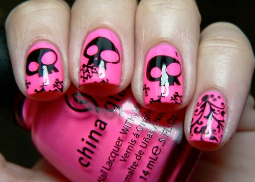 Uñas decoradas con carabelas, uñas para emos, diseños con dibujos