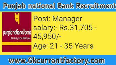 Punjab National Bank Manager Recruitment, Punjab National Bank Recruitment