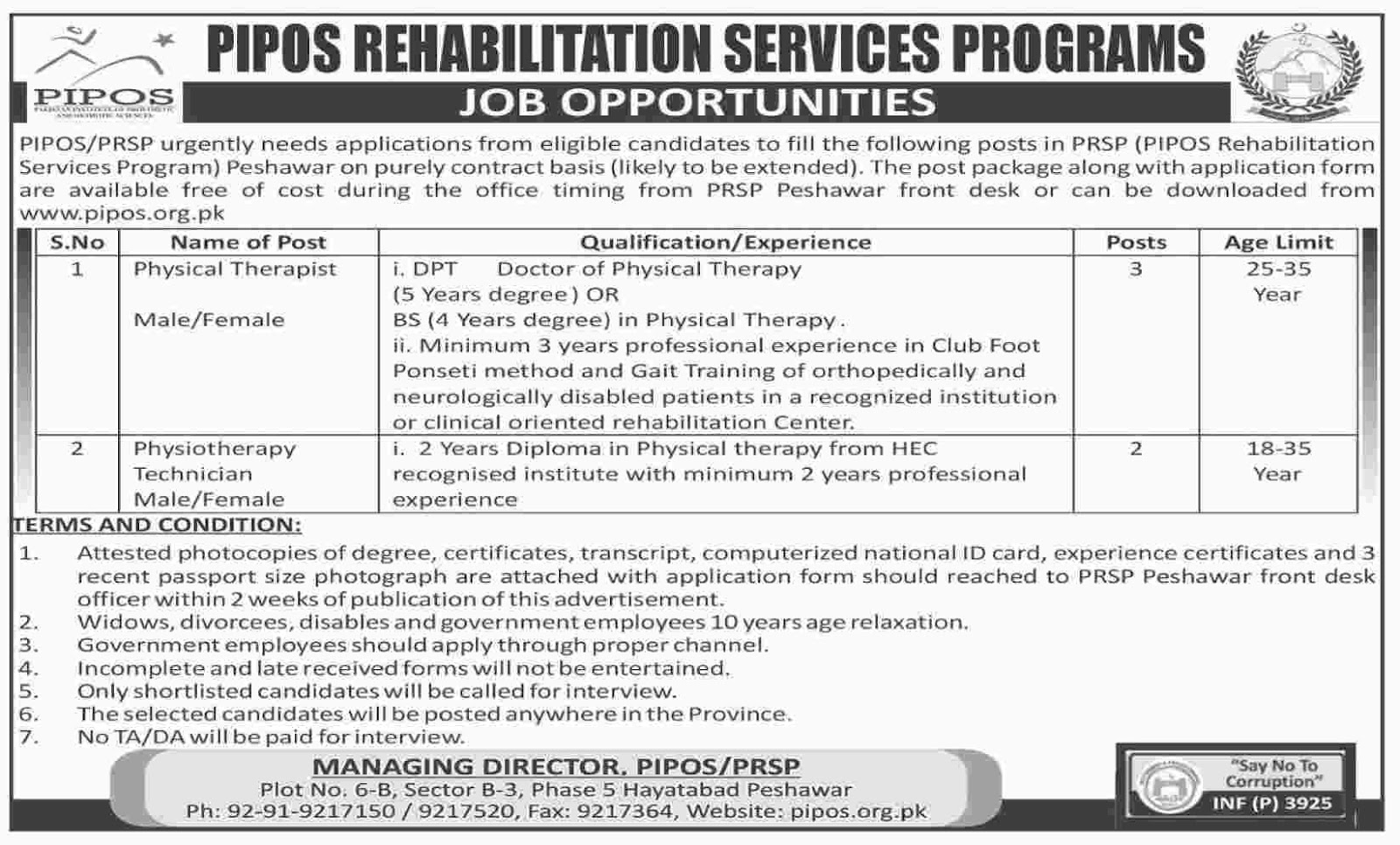 Physical Therapist, Physiotherapist Jobs In Pipos Rehabilitation Services Programs  Aug 2017