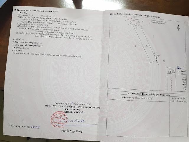 Bán đất mặt tiền 768 Thiện Tân Vĩnh Cửu 310.2 mv