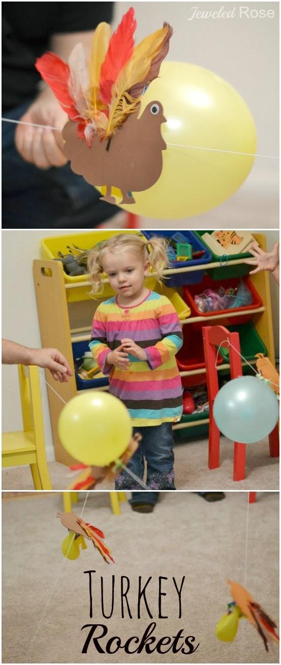 Turkey balloon rockets- fun Fall Science for Kids